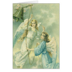 Victorian Angels With A Bell, Vintage Christmas Card at Zazzle