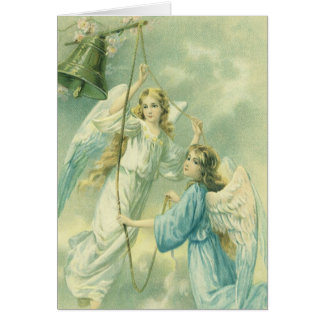 Victorian Angels with a Bell, Vintage Christmas Card