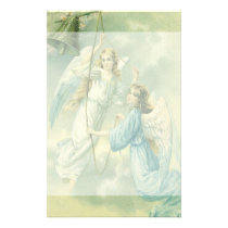 Victorian Angels with a Bell, Vintage Christmas Stationery