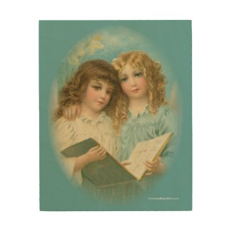 Victorian Angels with Song Book Wood Wall Art