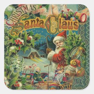 Victorian antiguo del vintage de Papá Noel del Pegatina Cuadrada