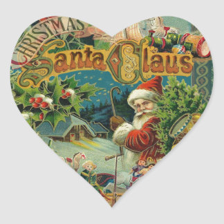 Victorian antiguo del vintage de Papá Noel del Pegatina En Forma De Corazón