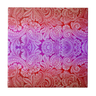 Victorian Arabesque, HALYDON in Red & Purple Ceramic Tile