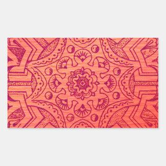 Victorian Arabesque, IDALIS - Flamingo Rectangular Sticker