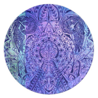 Victorian Arabesque, KASBAH - Navy & Cyan Party Plate