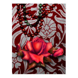 Victorian Arabesque, METALLIC ROSE - Red Postcard