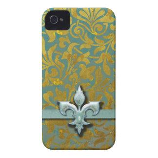 Victorian Arabesque, NOBLESSE - Aqua & Gold iPhone 4 Cover