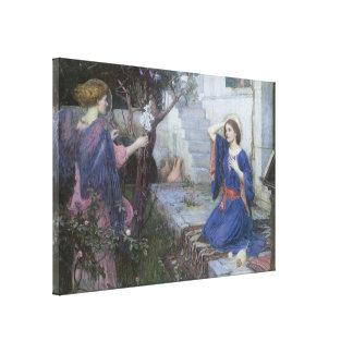 Victorian Art, Annunciation by JW Waterhouse Canvas Print
