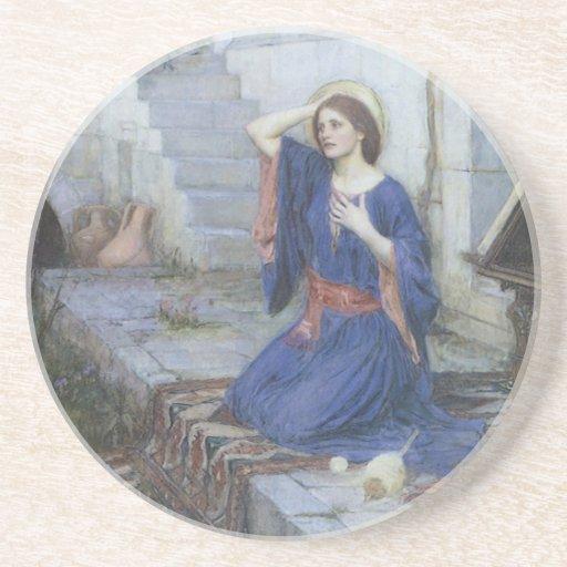 Victorian Art, Annunciation by JW Waterhouse Drink Coaster