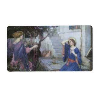 Victorian Art, Annunciation by JW Waterhouse Shipping Label