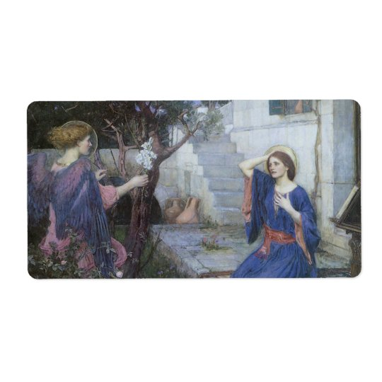 Victorian Art, Annunciation by JW Waterhouse Label