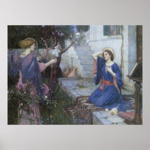 Victorian Art, Annunciation by JW Waterhouse Poster
