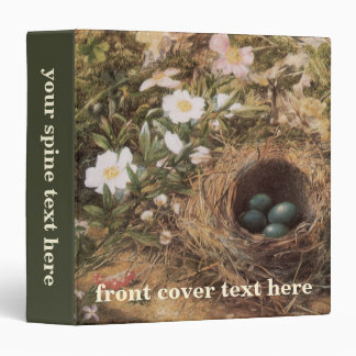 Victorian Art, Birds Nest and Dog Roses by JW Hill 3 Ring Binder