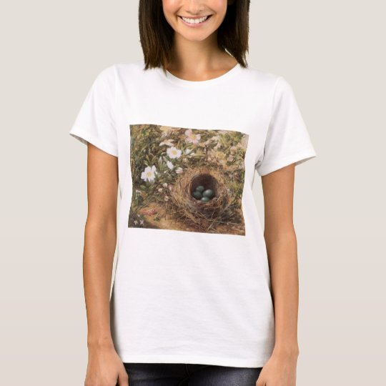 Victorian Art, Birds Nest and Dog Roses by JW Hill T-Shirt