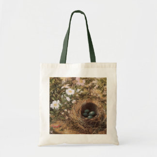 Victorian Art, Birds Nest and Dog Roses by JW Hill Tote Bag