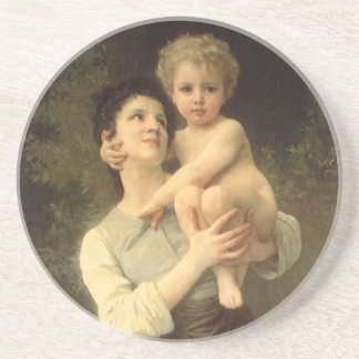 Victorian Art, Brother and Sister by Bouguereau Coaster
