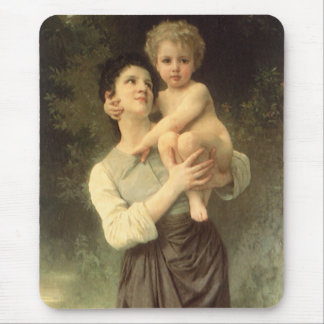 Victorian Art, Brother and Sister by Bouguereau Mouse Pad