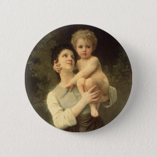 Victorian Art, Brother and Sister by Bouguereau Pinback Button