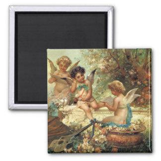 Victorian Art, Musician Angels by Hans Zatzka 2 Inch Square Magnet