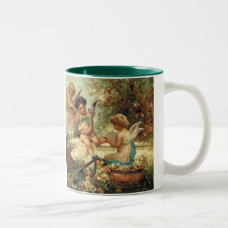 Victorian Art, Musician Angels by Hans Zatzka Two-Tone Coffee Mug