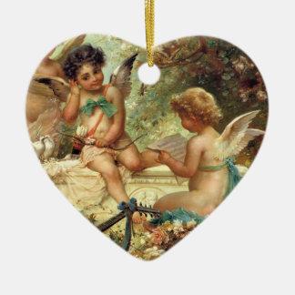 Victorian Art, Musician Angels by Hans Zatzka Double-Sided Heart Ceramic Christmas Ornament
