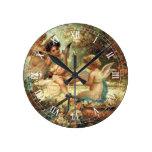 Victorian Art, Musician Angels by Hans Zatzka Round Clock