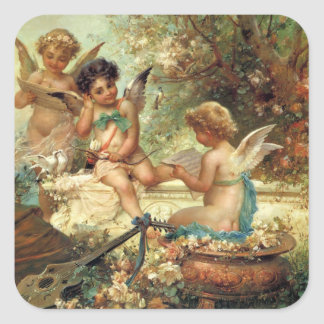 Victorian Art, Musician Angels by Hans Zatzka Square Sticker