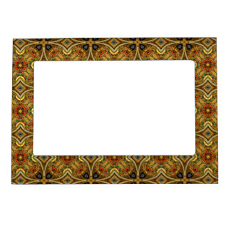Victorian Art Nouveau Abstract Pattern Gold Magnetic Photo Frame