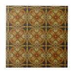 Victorian Art Nouveau Medieval Pattern Gold Design Small Square Tile
