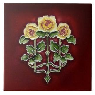 Victorian Art Nouveau Roses Antique Tile Repro