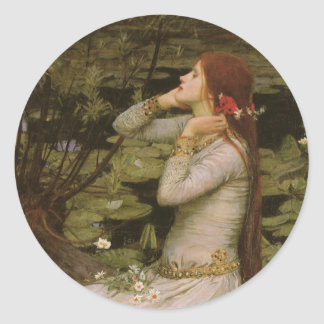 Victorian Art, Ophelia by the Pond by Waterhouse Classic Round Sticker