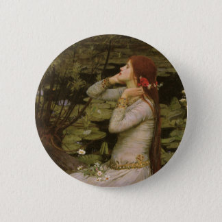 Victorian Art, Ophelia by the Pond by Waterhouse Pinback Button