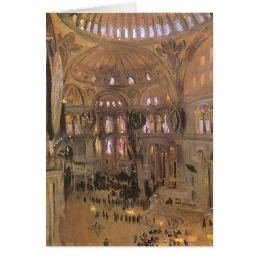 Victorian Art, Sketch of Santa Sophia by Sargent Greeting Card
