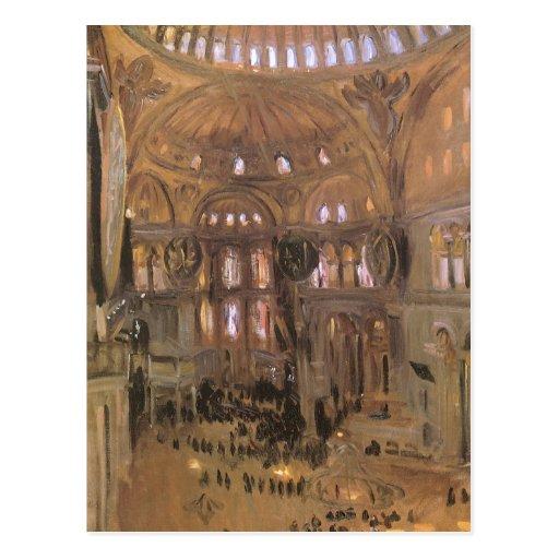 Victorian Art, Sketch of Santa Sophia by Sargent Postcard