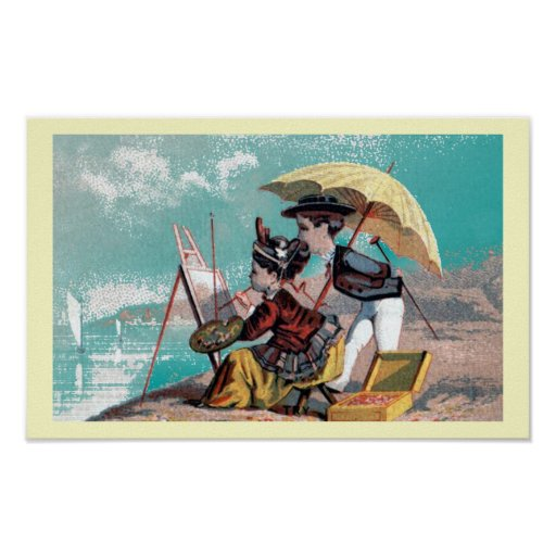 Victorian Artist at the Beach Poster