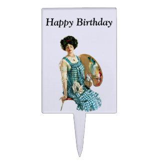 Victorian Artist Lady Painter Palette Birthday Cake Topper