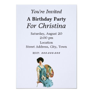 Victorian Artist Lady Painter Palette Birthday 4.5x6.25 Paper Invitation Card