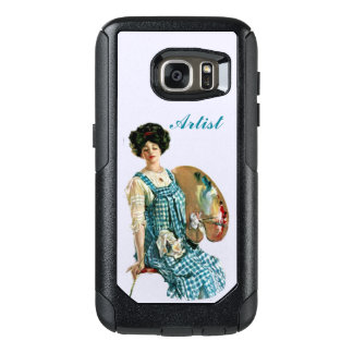 Victorian Artist Woman in Plaid Dress Paints OtterBox Samsung Galaxy S7 Case