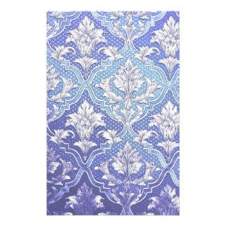 Victorian azul blanco del añil de la plata elegant papeleria de diseño