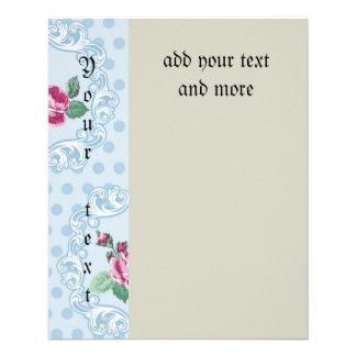 """Victorian, azul claro, lunar, rosas rosados, folleto 4.5"""" x 5.6"""""""