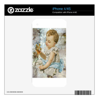 Victorian Baby Girl With Blue Dress Skin For iPhone 4