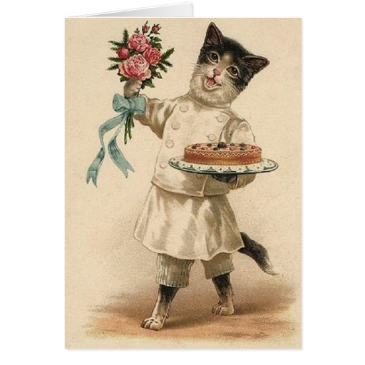 Victorian Baker Cat Congratulations & Best Wishes Greeting Card