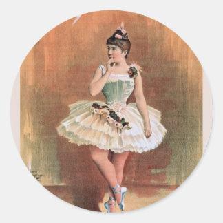 Victorian ballerina (1890) classic round sticker