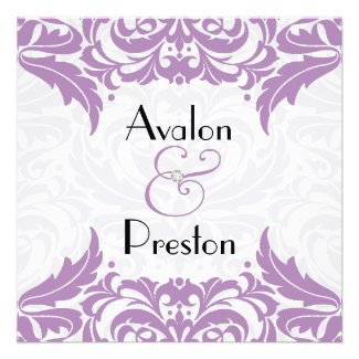 Victorian Baroque Violet Flourish Wedding Invitations