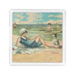 Victorian Beach Swimming Girl Acrylic Tray