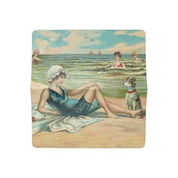 Beach Themed Victorian Beach Swimming Girl Checkbook Cover