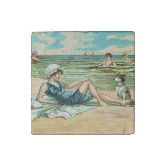 Victorian Beach Swimming Girl Stone Magnet