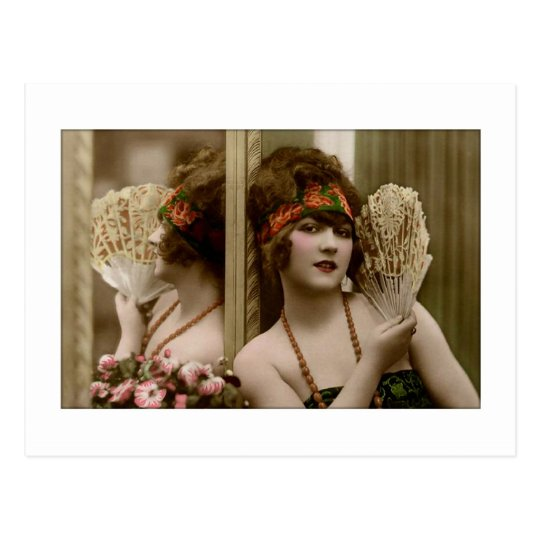 Victorian beauty with fan and reflection postcard