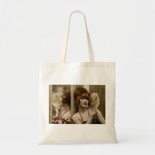 Victorian beauty with fan and reflection tote bag