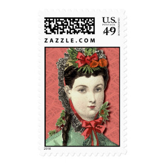 Victorian Beauty with Lace Christmas Postage